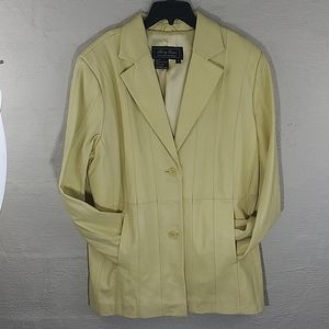 Jerry Lewis Yellow Leather Two Button Front Blazer
